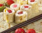 Alsa Recette des roulés aux fruits rouges ou makis de crèpes aux fraises et fromage blanc