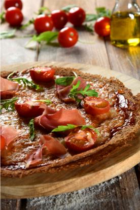 Galette pizza au jambon de parme